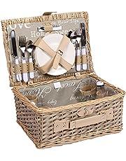 Picknickmand voor 4 personen wilgenmand met praktische inhoud, inclusief borden