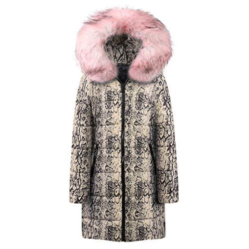 AOJIAN Women Jacket Long Sleeve Outwear Hooded Snake Print Zipper Parka Sweatshirt Jumper Coat Pink