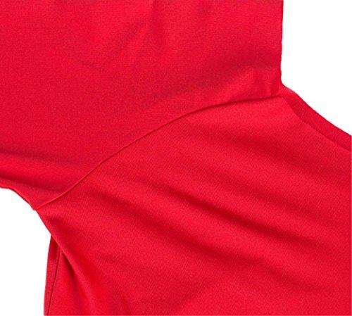 U-shot Vestidos Para Mujer Sin Tirantes Manga larga Delgado Ajustado Negocio Vestido de bola Club Vestido lápiz Rojo