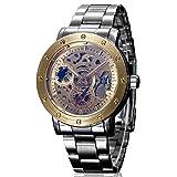 IK Colouring Steampunk Screw Bezel men Automatic Mechanical Wristwatch Golden Face