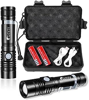 2 Pack Otyty 1000 Lumen Usb Rechargeable Led Flashlight