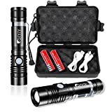 OTYTY USB Rechargeable LED Flashlight, Super Bright High Powered 1000 Lumen Tactical Flashlights Torch with 3 Modes, Pocket Clip, 18650 Battery and USB CableFor CampingHiking (2 Pack)