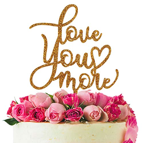Love You More Gold Acrylic Cake Topper Wedding Anniversary Party Decoration Sweet Love Heart Bridal Shower Gift Keepsake ()