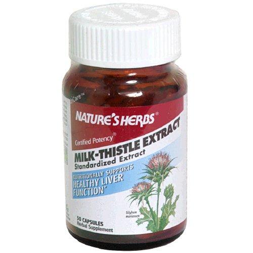 Nature Herbes Capsules Extrait de chardon-Marie, de virilité certifié, 50-Count Bouteilles (Pack de 2)
