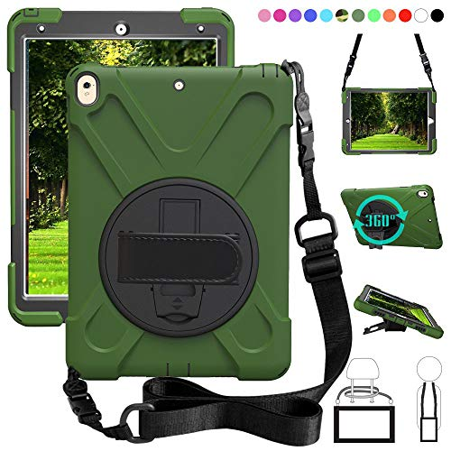 ZenRich iPad Pro 10.5 case, iPad Air 3rd Gen 2019 Case,360 Rotating Kickstand Shockproof Heavy Duty 3-Layer Cover Skin with Shoulder Belt Harness for iPad 10.5 inch Tablet 2017/2019 Release