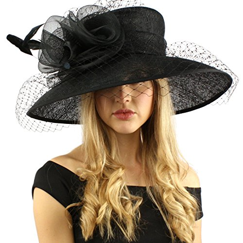 Elegant Dome Simamay Feathers Overlay Netted Derby Floppy 6'' Brim Dress Hat Black by SK Hat shop