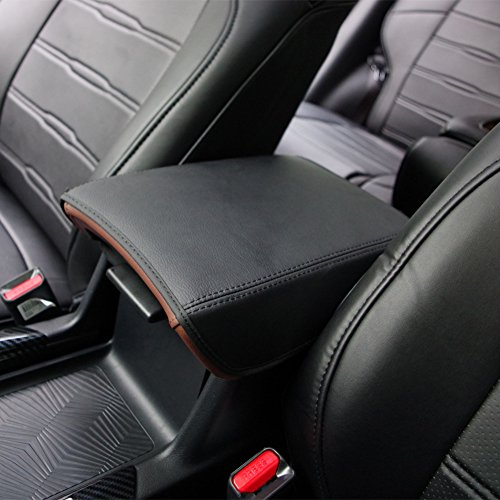 Price comparison product image Kust fsx3853w Car Armrest Cover Saver,  1 Piece Armrest Cover Fit for Honda CRV 2017 2018 Central Console Armrest Box Crv(Black With Black Stitches)