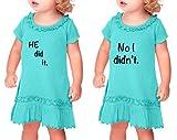 He Did It No I Didn't Sunflower Short Sleeve Dress Twin Set Caribbean Blue 18 Months
