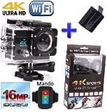 Theoutlettablet® sport azione fotocamera HD 4K Ultra HD 16Mpx come SJCAM SJ4000 1080p full HD Camcorder 170 Wifi sommergibile cam Sport acquatici Go + Remote + batteria extra