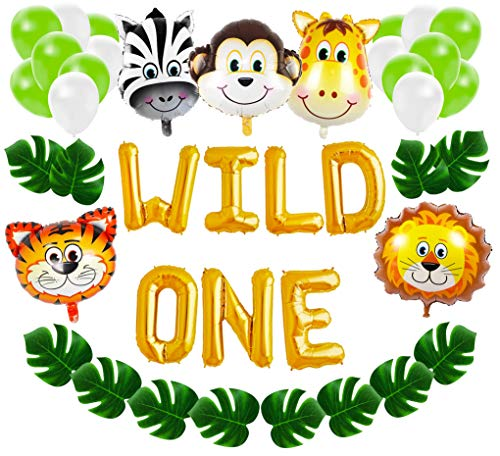 Wild One First Birthday Balloon Decoration Kit, 1st Boy Girl Theme Bday Party Banner Decoration Set]()