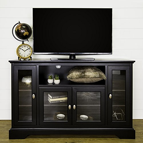52 Inch Modern Glass & Wood Highboy TV Console, Black Finish by Home Accent Furnishings