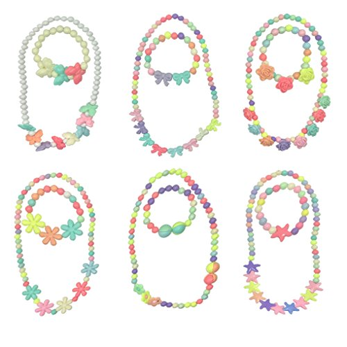 HYHP 6 Sets Princess Necklace Bracelet Little Girls Dressing Up Jewelry Toddler Kids Play Jewelry Costume Necklaces for Toddler (Princess Dressing Up)