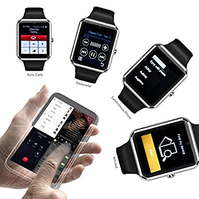 StarryBay Black Bluetooth Wrist Smart Watch with Touch Screen/Handsfree Call/Camera for Android 4.2 and Above/Limited Functions for iPhone 7.0 and Above