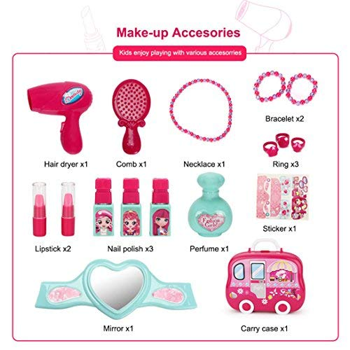Role Play Jewelry Kit for Girls Toy Set Princess Suitcase Gift for Kids Children 3 Years Old by YIMORE (Image #2)