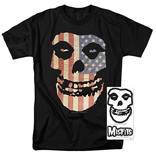 Popfunk Misfits Officially Licensed American Flag Skull T Shirt (Large) -
