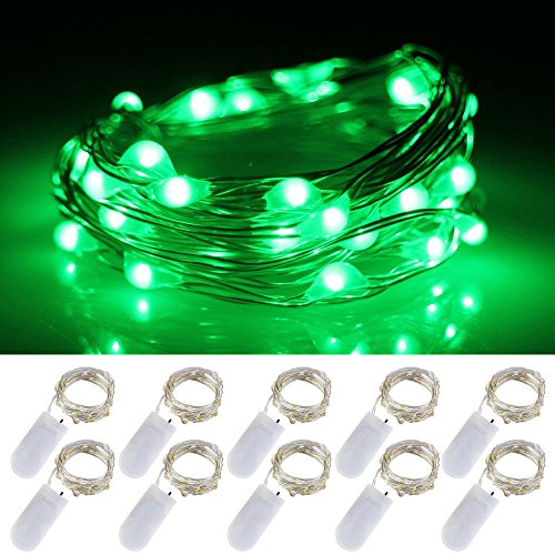 LXS Battery Operated Fairy Lights 10 Sets of 2M /20 LED,Amazingly Bright - Ultra-Thin Flexible Easy to Wrap Silver Wire for Halloween Christmas Wedding Party,Fairy Light Effect(10PCS-Green)