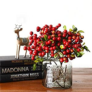 Wootkey 10 Pcs Plastic Artificial Flowers California Berries Rich Red Artificial Berry Stems Holly Christmas Berries for Festival Holiday and Home Decor 3