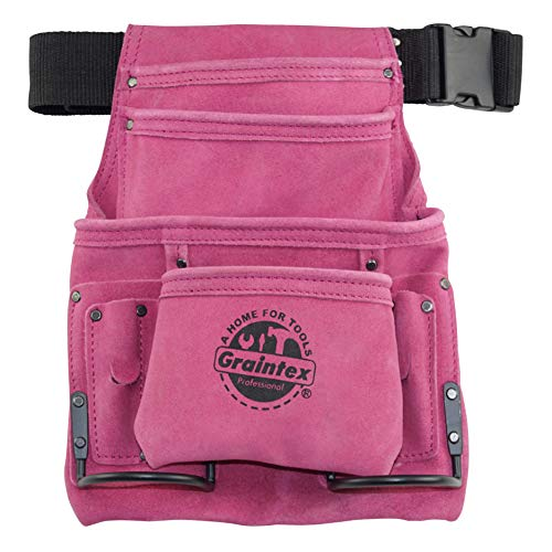 Graintex SS2186 10 Pocket Nail & Tool Pouch Pink Leather
