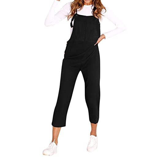 090d0943cf0e Orangeskycn Women Jumpsuits Spaghetti Strap Wide Legs Bodycon Trousers  Clubwear Black