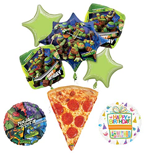 Mayflower Products Teenage Mutant Ninja Turtles Birthday Party Supplies TMNT Pizza Balloon Bouquet Decorations -