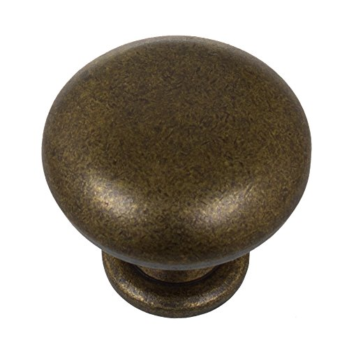 GlideRite Hardware 5411-AB-10 1.125 inch Diameter Classic Round Antique Brass Cabinet Knobs 10 (Brass Traditional Oval Knobs Cabinet)