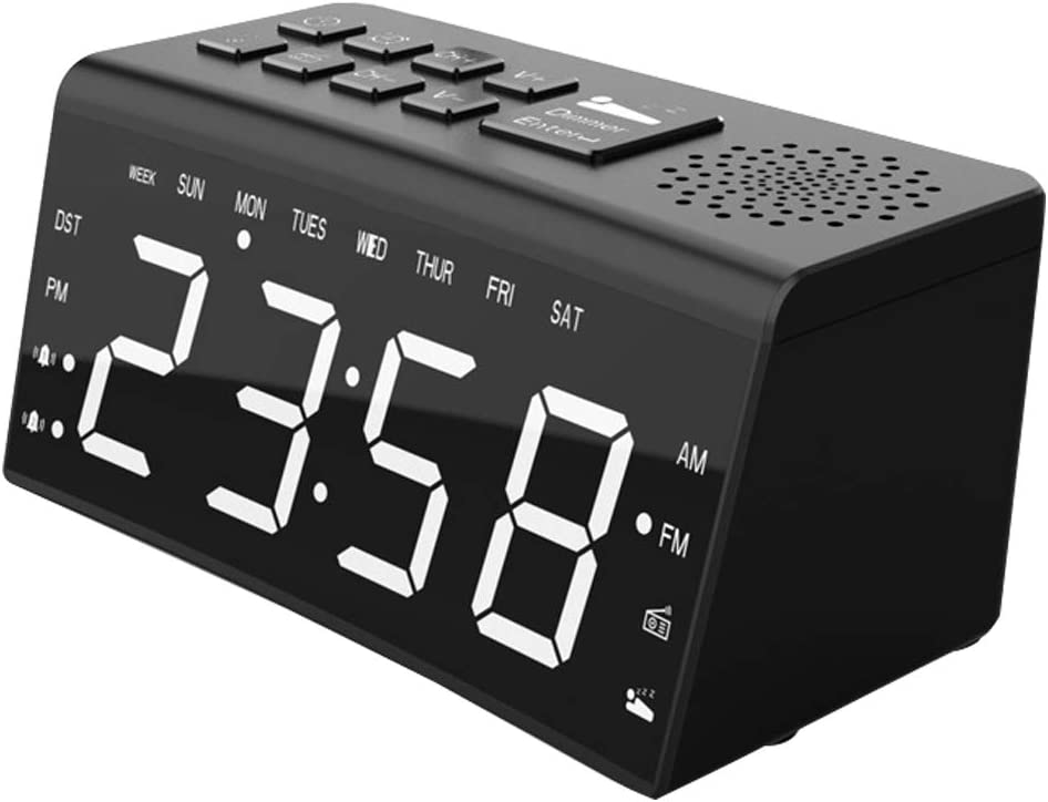 Alarm Clock Large Screen Digit Adjustable Brightness Electronic LED Display Clock with Dimmer Temperature Display Sleep Timer Snooze
