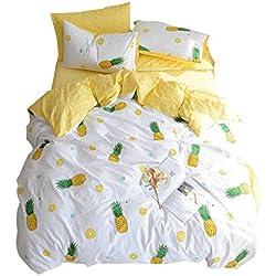 VM VOUGEMARKET Pineapple Bedding Duvet Cover Set Queen-100% Cotton,3 Pieces Cream/Off White Bedding Set,Reversible Yellow Geometric Duvet Cover for Kids Teens Children-Full/Queen,Pineapple
