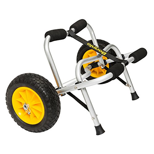 Cheap Bonnlo Universal Kayak Carrier Trolley Cart Dolly for Carrying Kayaks, Canoes, Paddleboards, Float Mats, and Jon Boats with NO-Flat Airless Tires 2 Ratchet Straps kayak dollies
