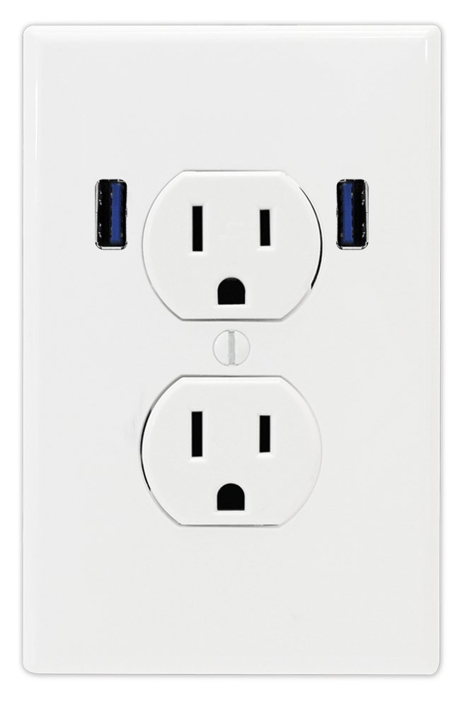U-Socket ACE-8158 15-Amp AC Standard Wall Duplex Outlet with Built-in USB Charger Ports, White by U-Socket (Image #1)