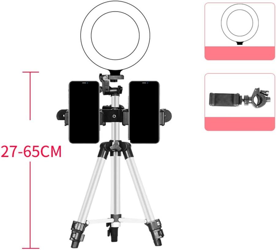 LED Luce Anulare,Luce Anulare,Asta telescopica,con treppiede e porta telefono,Alimentatore interfaccia USB,lampada da tavolo LED con 3 modalit/à,Vari angoli,Per scattare video,scattare foto,ecc.