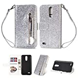 Wallet Case LG K8 2018,Bling Glitter Zipper Case PU Leather Case Folio Flip Cover Kickstand Magnetic Closure Stand Shiny Cover with Card Holder Cash Pocket and Strap-Silver