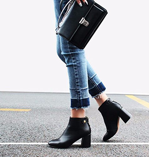 Zipper With 7 Boots Winter Short 5Cm Black Square In Heeled Leather Boots Thick High KHSKX And Autumn And Cashmere Match Boots All tEqwgSa