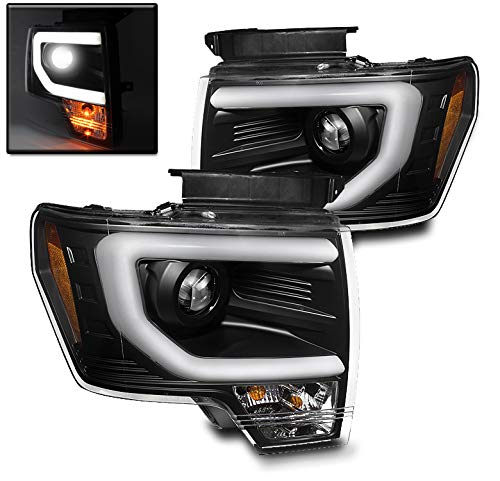 ZMAUTOPARTS Ford F150 Pickup Truck DRL Bar Strip Projector Headlights Lamp Black Pair
