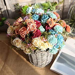 AKIMPE Artificial Fake Flower Faux Greenery DIY Decorations Forever Petals Long Stem Vine Preserved Gift for Wedding Party Home Birthday Garden Her Women 6 Pieces Multicolor 7 3
