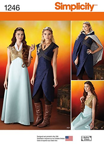 Warrior Princess Costume Pattern - Simplicity Creative Patterns 1246 Misses' Fantasy Costumes, Size: R5 14-16-18-20-22
