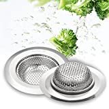 Garbage Disposal Containers JOMOLA 2PCS Stainless Steel Sink Strainer For Garbage Disposal, Easy Handle Portable Kitchen Drain Strainer Basket - Suitable Size for your Kitchen Sink