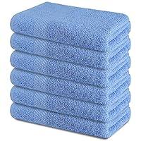 ZUPERIA - Toalla de baño (6 unidades, 22 x 44 cm), color azul