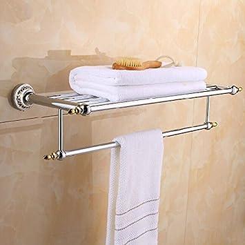 XAH @ aluminio aleación doble pared estante toallero porta toallas. Accesorios baño: Amazon.es: Hogar