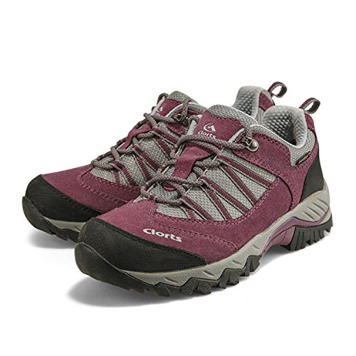 Image of Qianling Collection Women's Outdoor Purple Suede Leather Waterproof Hiking Shoes US6.5