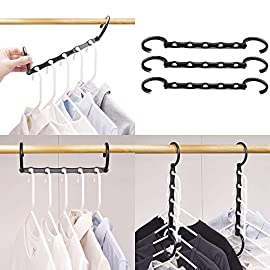 """HOUSE DAY Magic Hangers Space Saving Clothes Hangers Organizer Smart Closet Space Saver with Sturdy Plastic for Heavy Clothes 157 Measures: 15x3x0.8"""" Magic Cascading Hangers for space saving Ideal for apartments, dorms, small houses"""