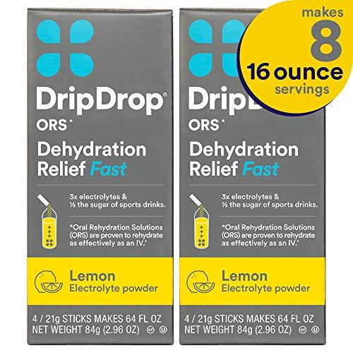 (DripDrop ORS Electrolyte Hydration Powder Sticks, Lemon Flavor 2-Pack, Makes (8) 16oz Servings)