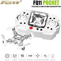 Qwinout FQ777-FQ11 2.4Ghz 6 Axis Gyro Remote Control Mini Quadcopter 360 Roll 3D Drone RTF With Foldable Arm Headless One Key Return - No Camera (Silver)