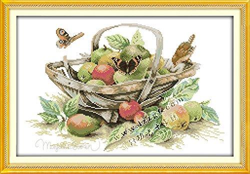 (Joy Sunday Cross Stitch Kits,Still Life Style,Fruit Basket (4),14CT Counted, 49cm×34cm or 19.11