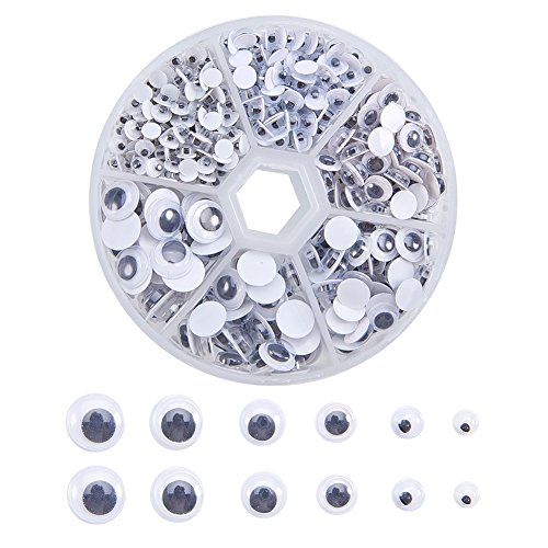 PandaHall Elite 600 Pieces 4-9mm Round Wiggle Googly Eyes Without Self-Adhesive for DIY Scrapbooking Crafts Toy Accessories Black