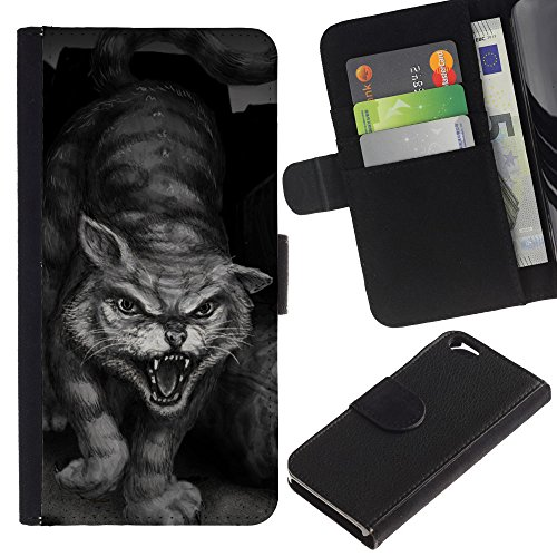 EuroCase - Apple Iphone 6 4.7 - painting tiger wild cat monster hero - Cuir PU Coverture Shell Armure Coque Coq Cas Etui Housse Case Cover