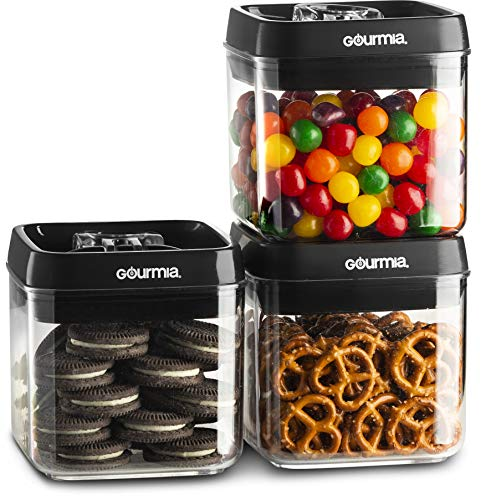 Gourmia GEC9795 Airtight Food Storage Containers, 3 Pack, 1 Liter - Stackable, Easy Lock Clear Organizers with Airtight Lids - Preserves and Keeps Dry Goods Fresh and Dry - Space Saving, BPA Free