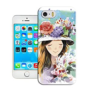 Amazing Hard Plastic iPhone 5/5s Case, Fate Inn-351.Girl And Flowers (1)-iPhone 5/5s case