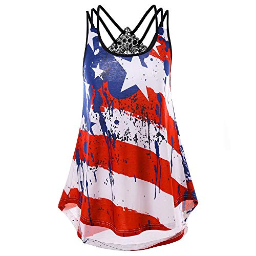 - CHIDY Women Plus Size Style Ink Stars Stripes Print Criss Cross Back Black Lace Tank Top Tunic USA Flag Shirt(X-Large,Red)