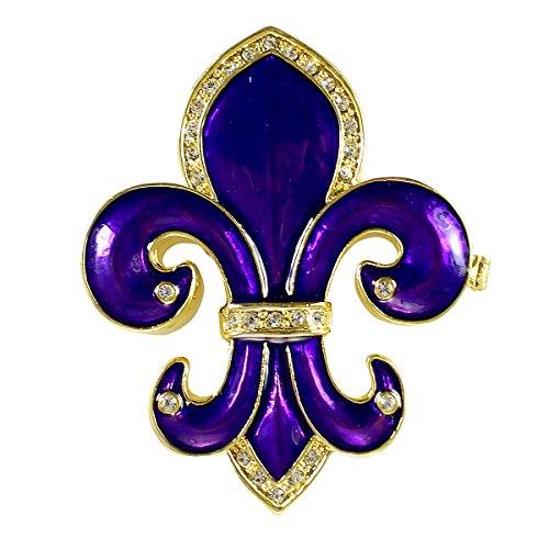 De Fleur Lis Crystal Large - Fleur De Lis Royal Purple Trinket Box Bejeweled Gold Tone