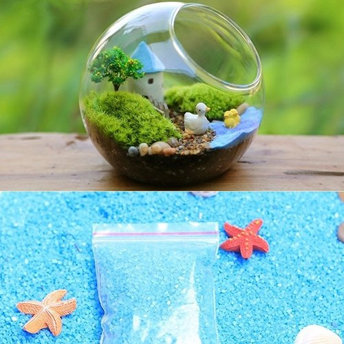 dezirZJjx Mini Micro Landscape,1Bag Blue Sand for Miniatures Fairy Garden Moss Terrarium Decor Crafts Bonsai